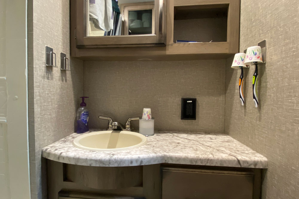 Four RV Toothbrush Holders Installed