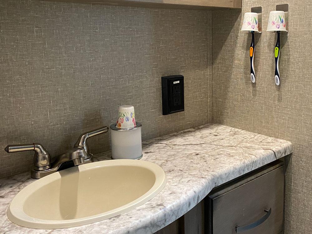 Best RV toothbrush holders installed in travel trailer bathroom