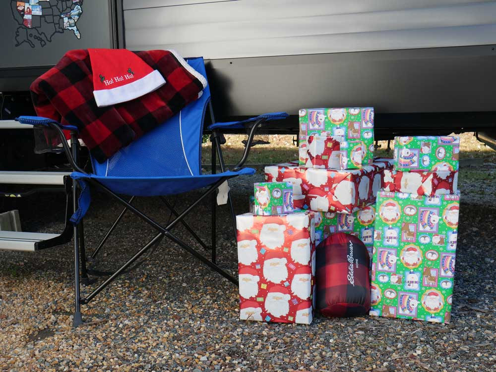 RV Gifts Stacked Outside the Camper