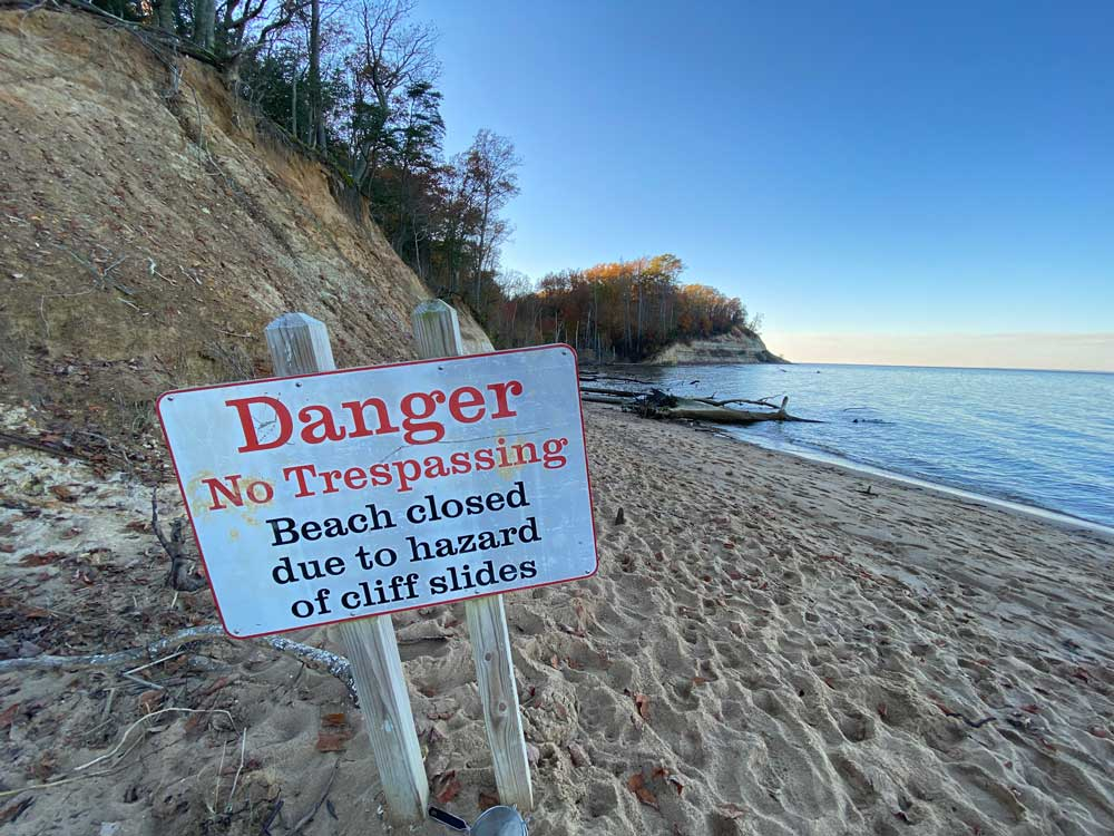 Danger Sign at Westmoreland State Park Fossil Beach