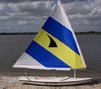 Aqua Finn Sailboat on Beach