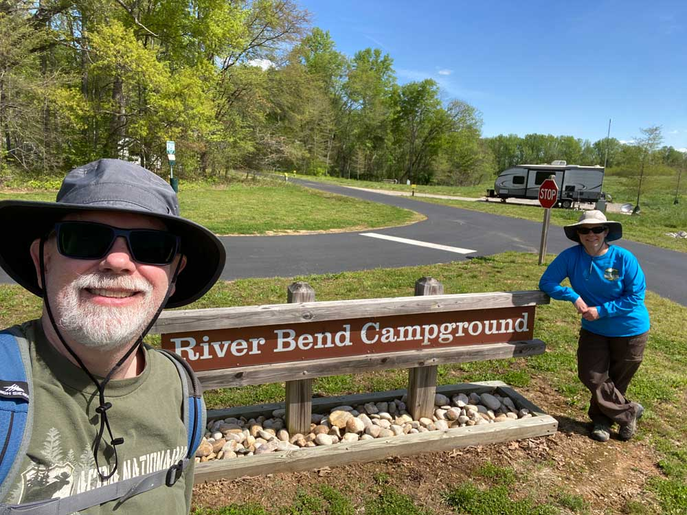 Powhatan State Park Couple Standing By The River Bend Campground Sign