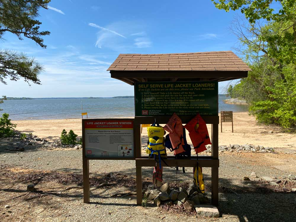 North Bend Campground Swim Beach Life Jackets