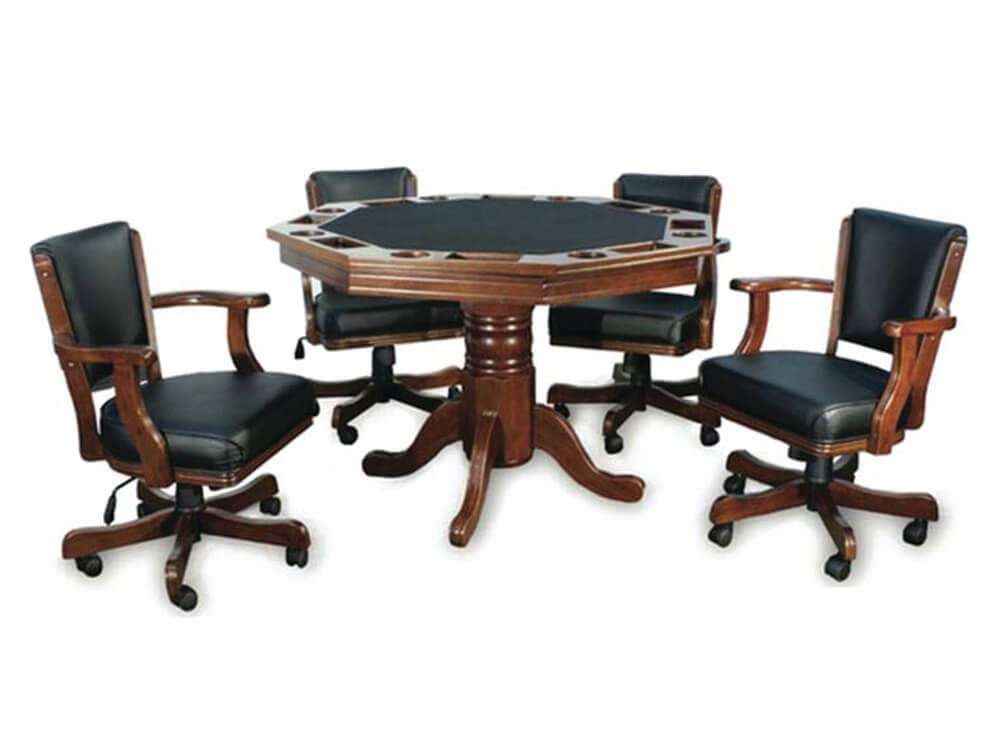 Octagonal Poker Table Set with 4 Chairs