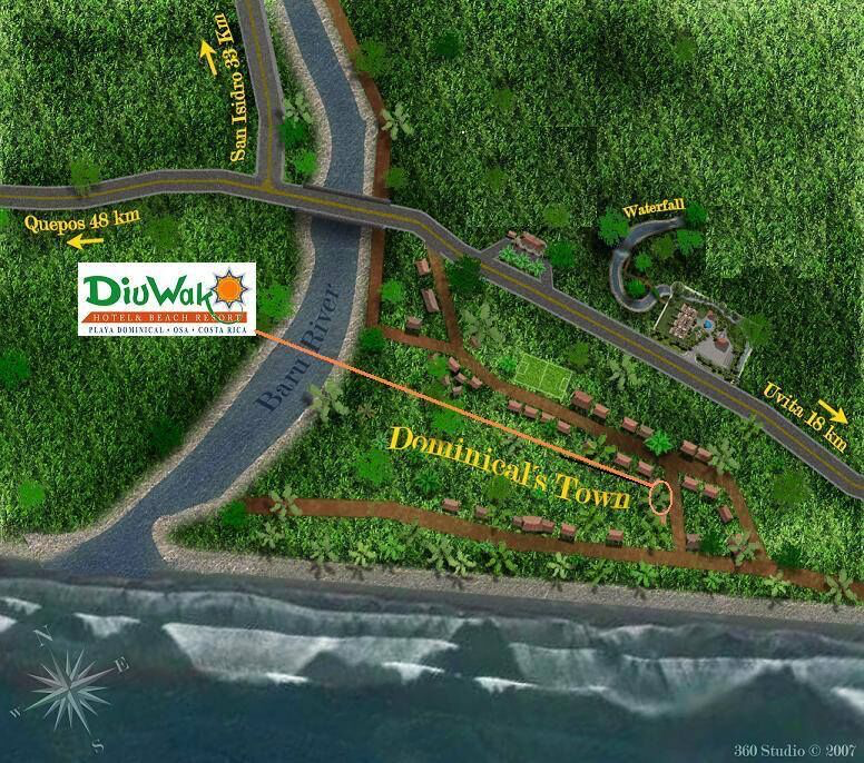 DiuWak location in Dominical Costa Rica