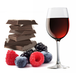 Red wine, dark chocolate and berries.