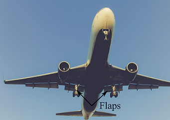 An airplane during takeoff with flaps down