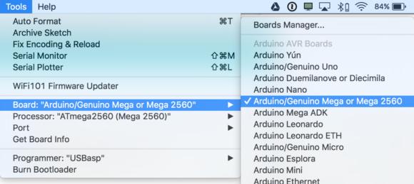 arduino mega 2560 selection