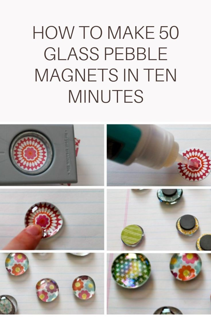 Six step by step photos of how to make DIY glass pebble magnets.
