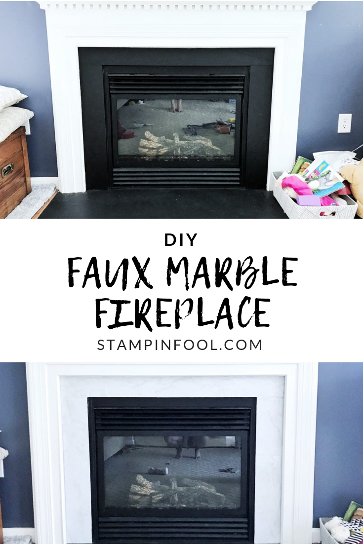 DIY Faux Marble Fireplace Update