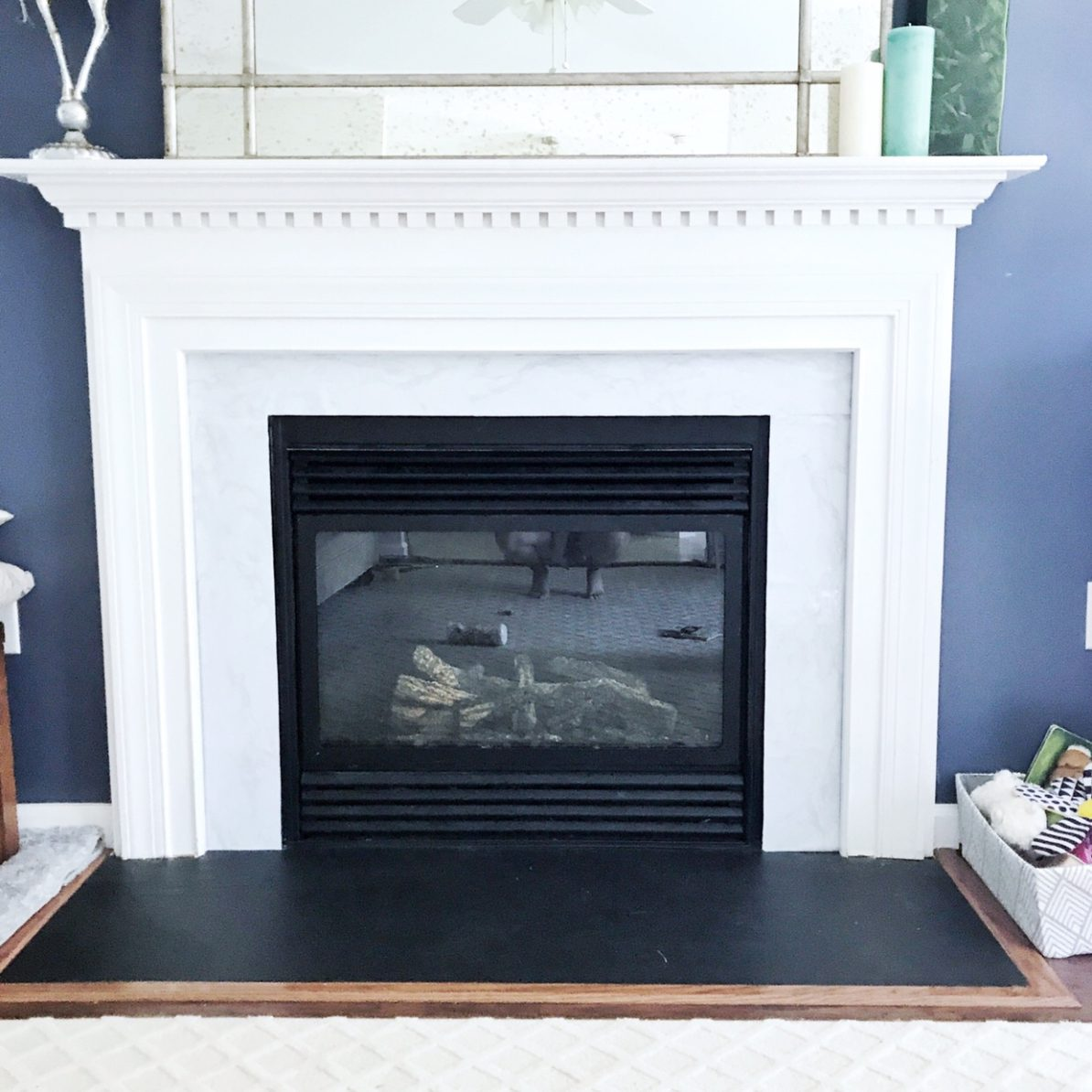 Get the look with this DIY Faux Marble Fireplace Hack from StampinFool.com