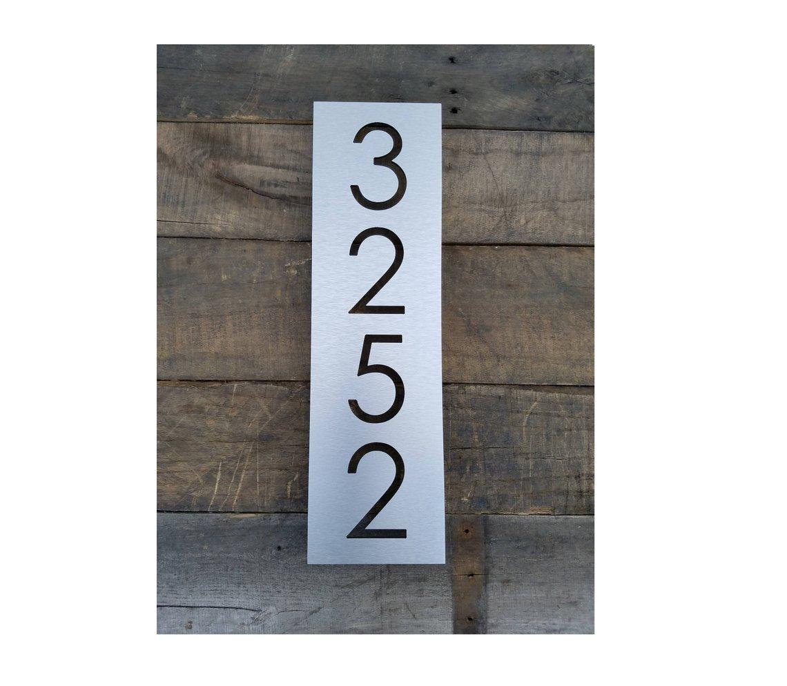 Vertical steel metal etched address number