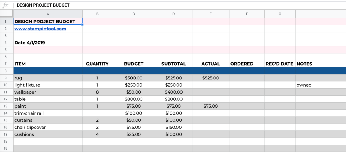 Screenshot of How to Budget for a Home Decor Project + Free PRINTABLE