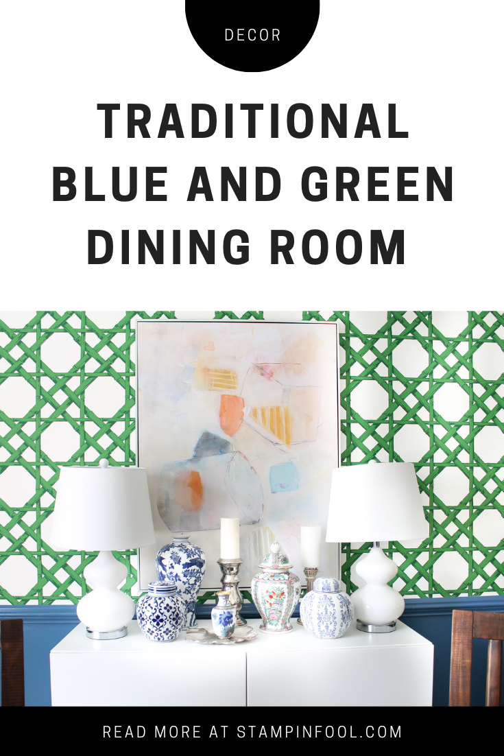 Traditional Blue and Green Dining Room with sources and DIY tips for wallpapering from StampinFool.com