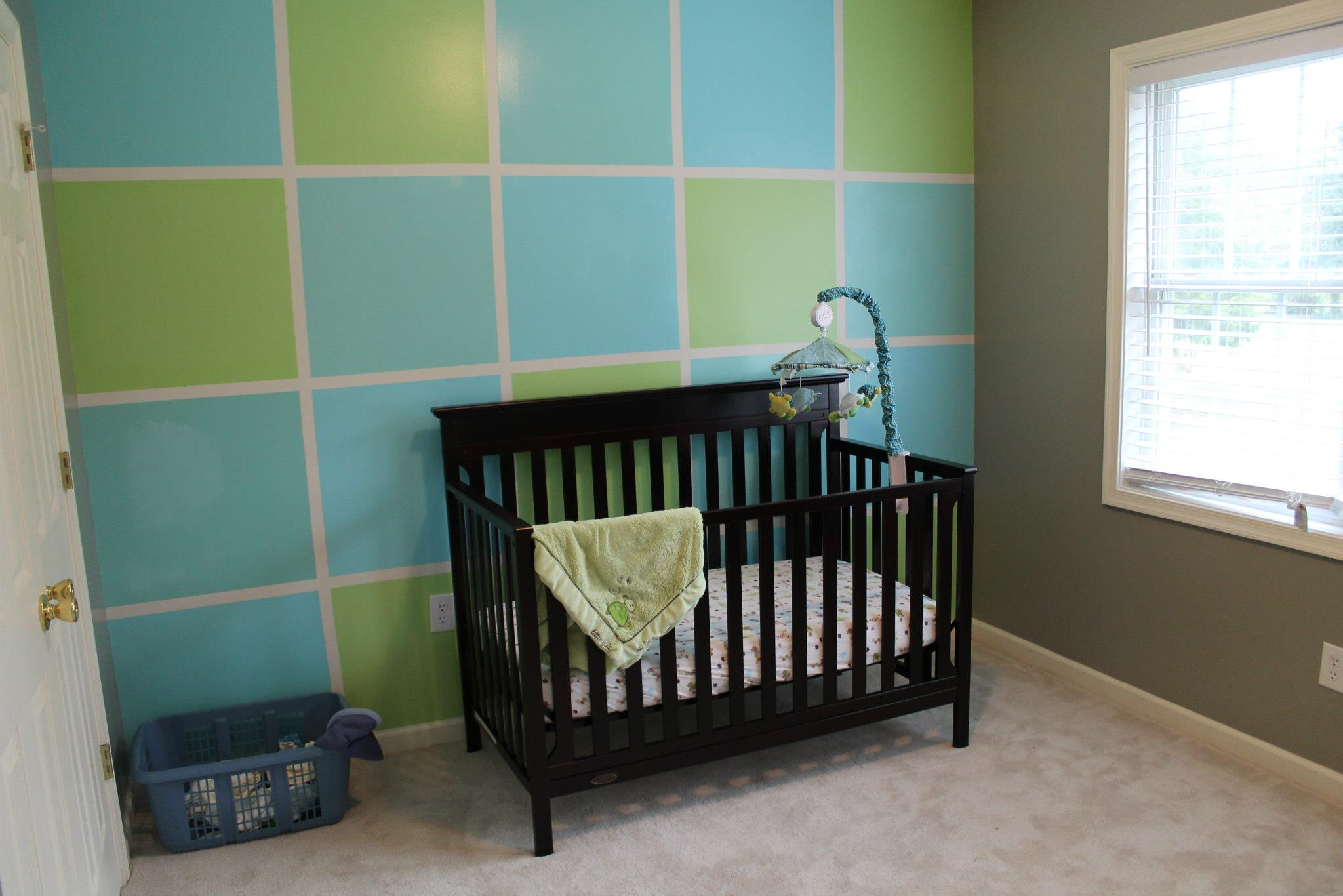 One Room Challenge before photo of Boy's Nursery with Blue and Green DIY Colorblock painted wall from Stampinfool.com