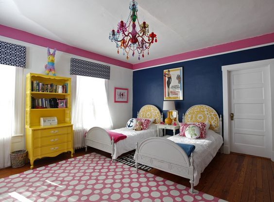 Pink and blue bedroom from Washington Post