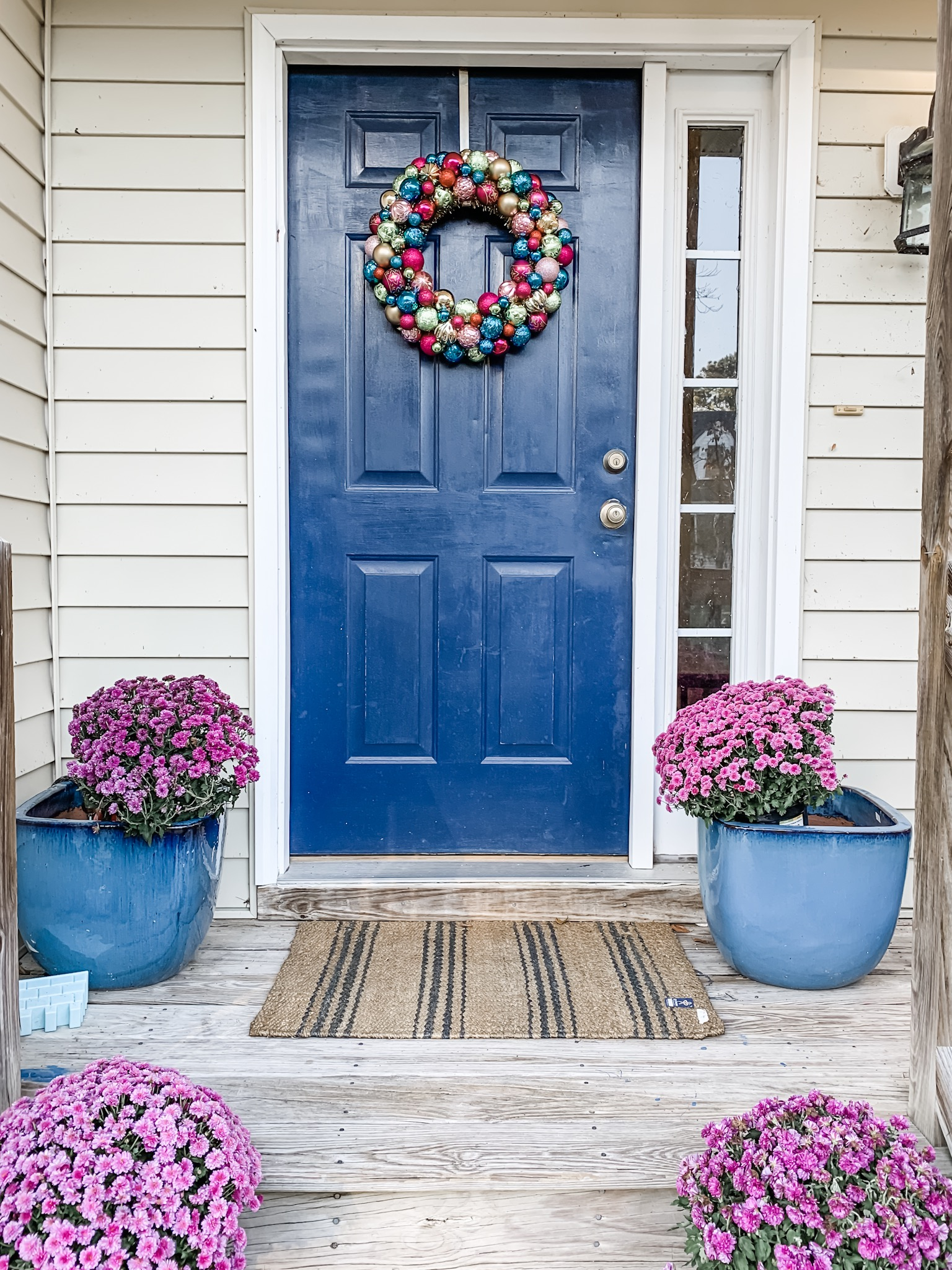 Front door Christmas Ornament Wreath with video and photo tutorial