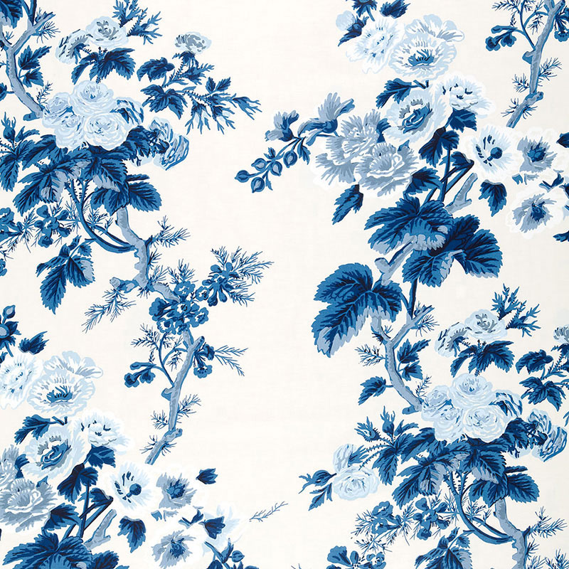 Blue floral Schumacher PYNE HOLLYHOCK wallpaper in the best of 2020 wallpapers