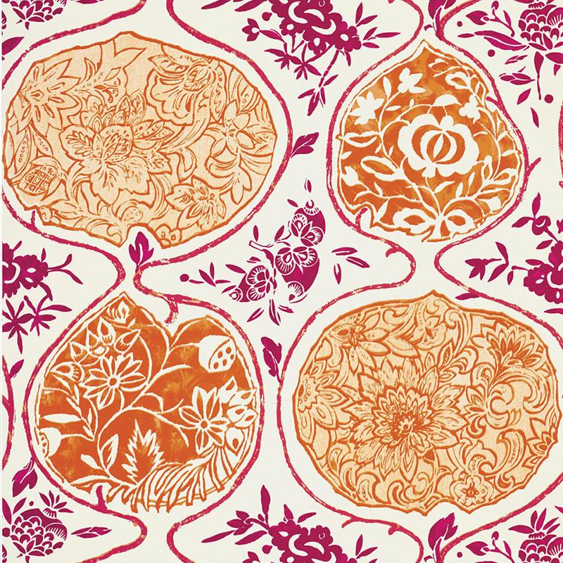 Pink and Orange Schumacher KATSUGI Wallpaper