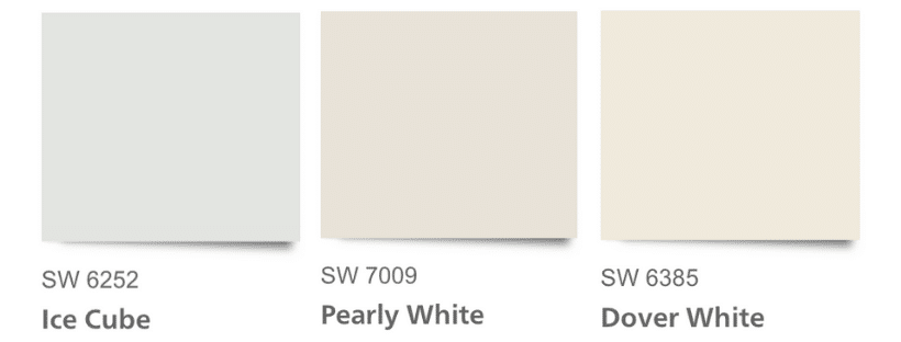 Understanding undertones in white paint colors with this example of Ice Cube, Pearly White and Dover.