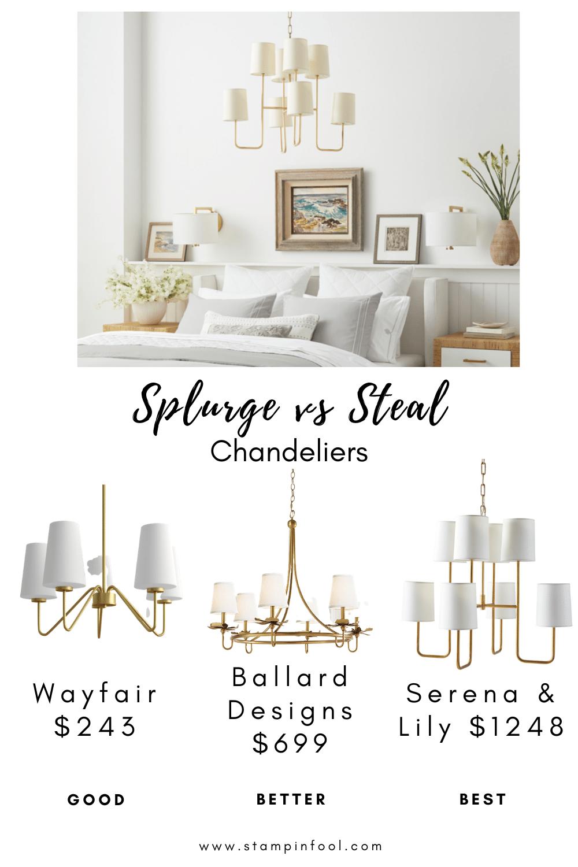 Splurge vs Steal Chandeliers - Interior Decorating Tips