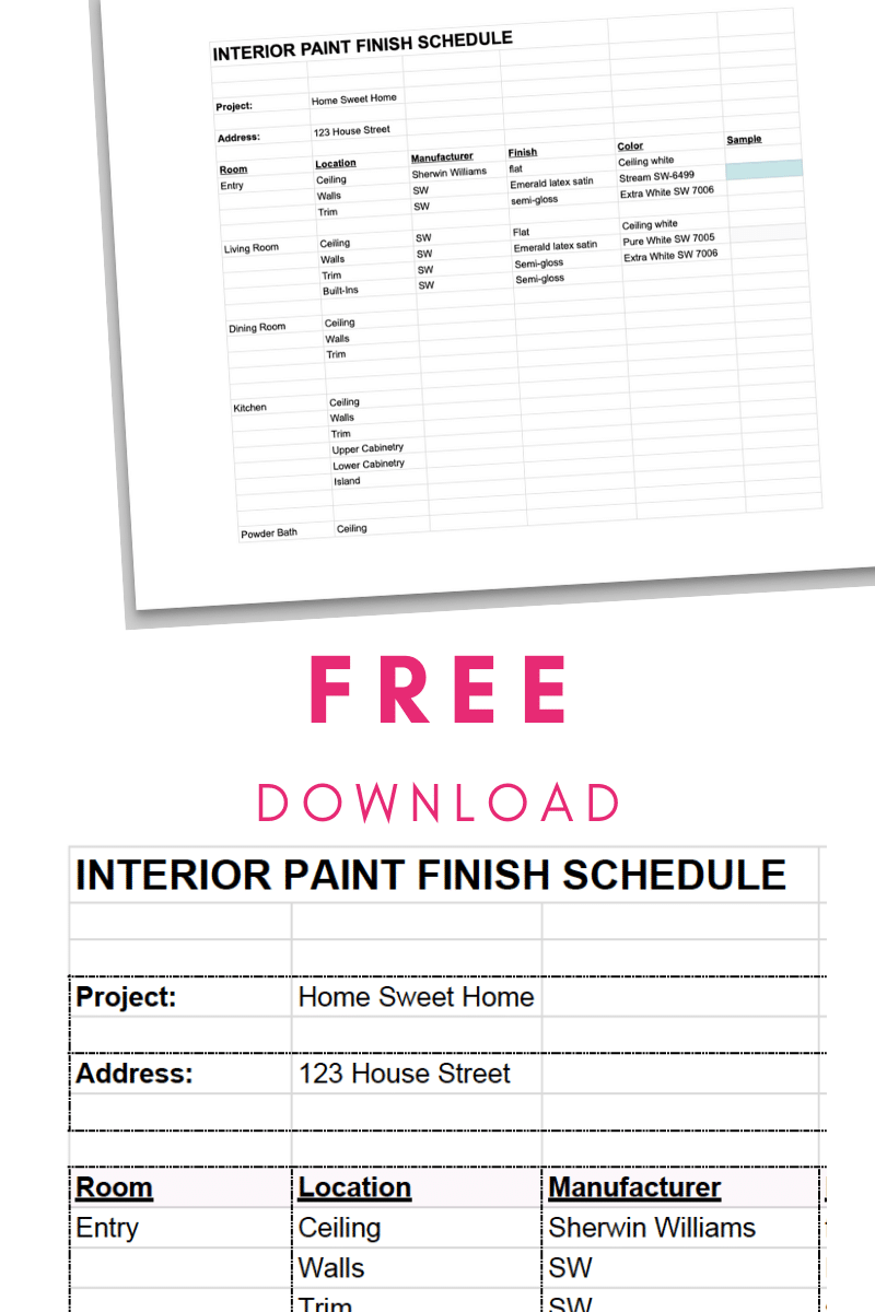 How to Use an Interior Paint Finish Schedule + FREE HOUSE PAINT COLOR TRACKER