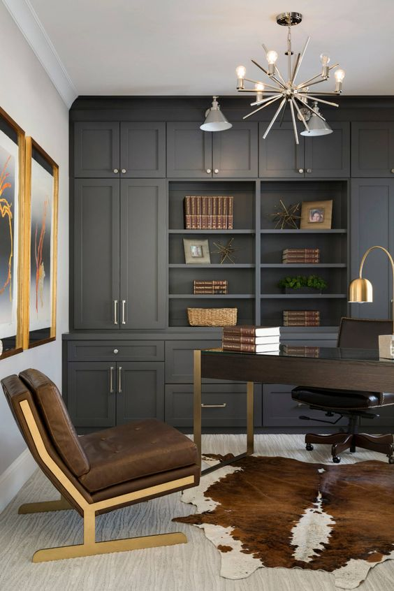 Cow hide rugs rank in my top 25 elements of a masculine home office.