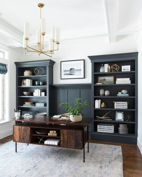 Studio McGee built ins in a masculine home office