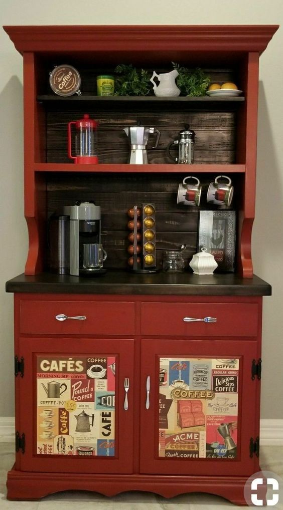 Cabinet Home Coffee Station in Kitchen