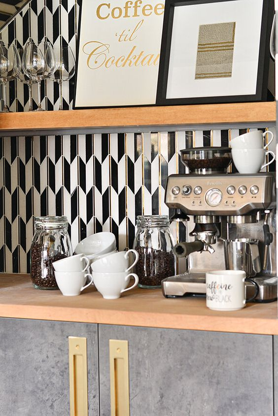 Tiled Home Coffee Station in Kitchen