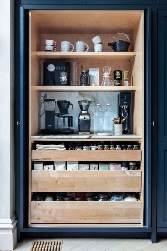 Blue Built In Home Coffee Station in Kitchen
