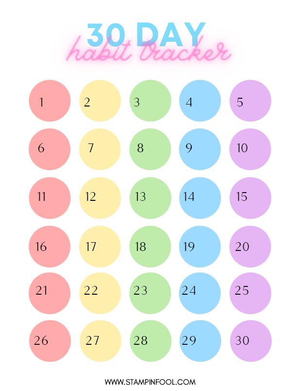 Rainbow 30 Day Habit Tracker 2021
