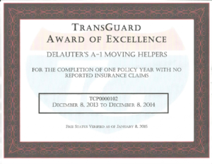 moving services award - Transguard award of excellence