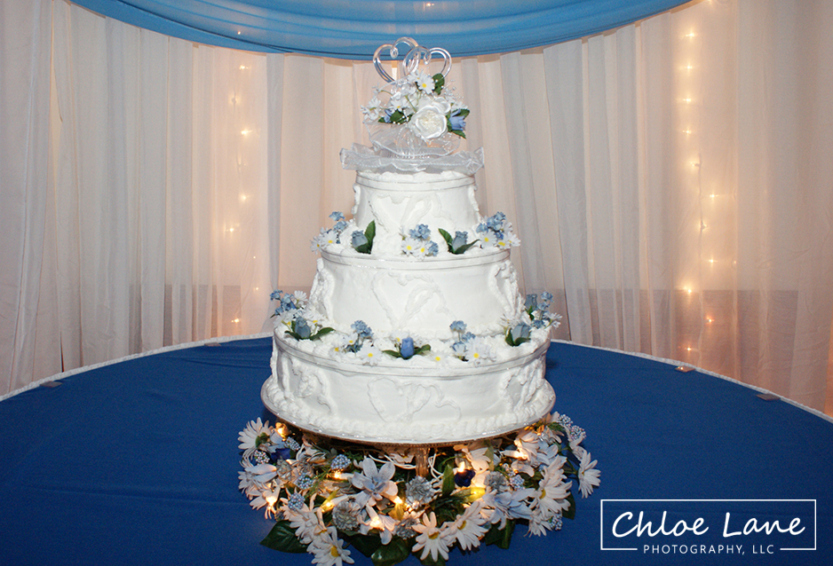 wedding cake setup during wedding reception in Latrobe Pennsylvania