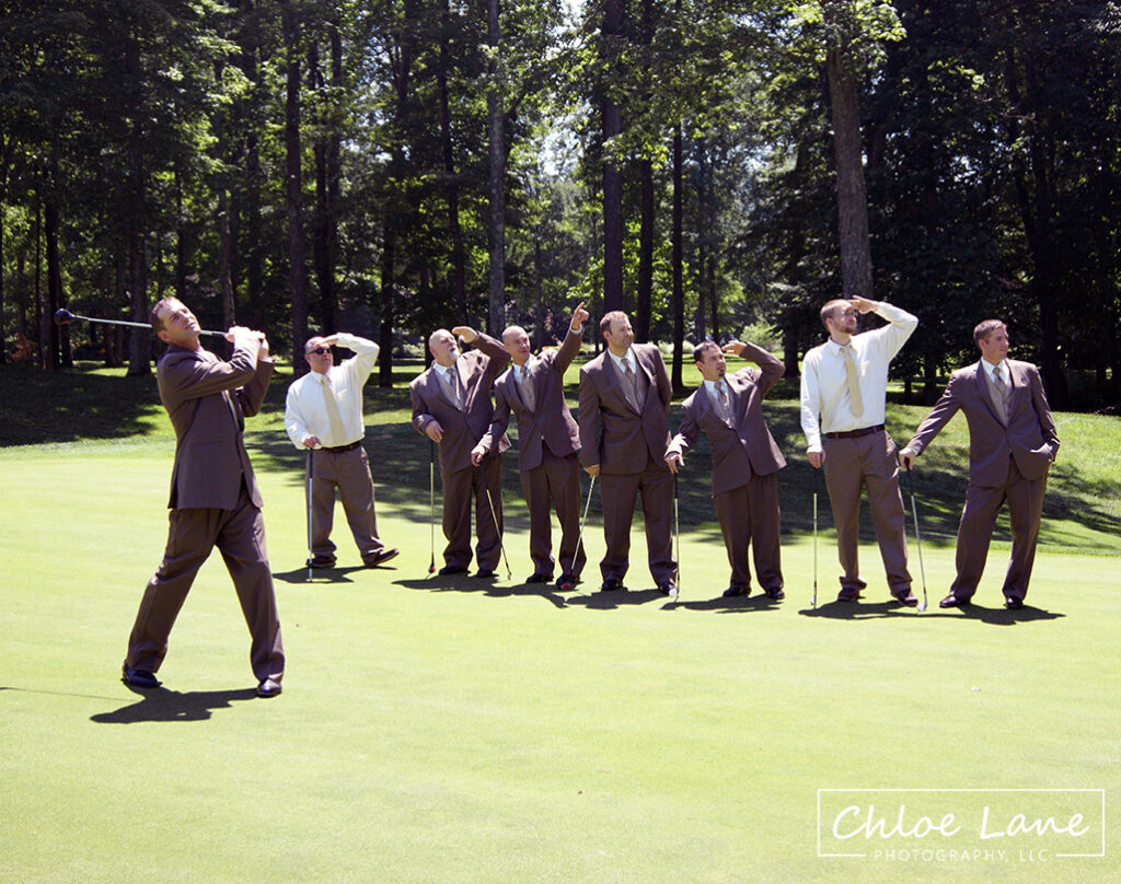 latrobe country club, groomsman playing golf after wedding ceremony by Chloe Lane Photography Greensburg and Latrobe
