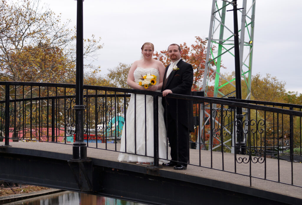 Bride and groom at Kennywood Park in Pittsburgh, PA