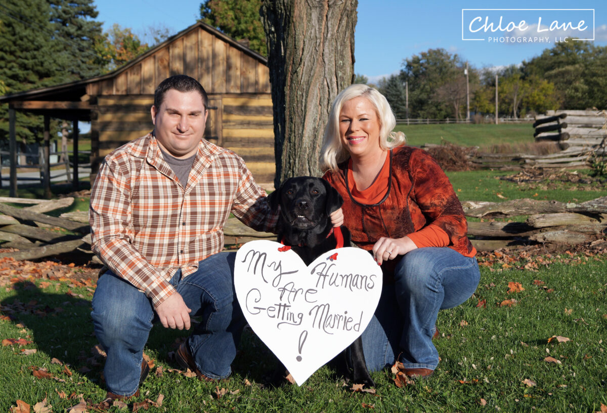 Engagement-Photos-with-Dog-Hannas-Town-Greensburg by Chloe Lane Photography Greensburg and Latrobe