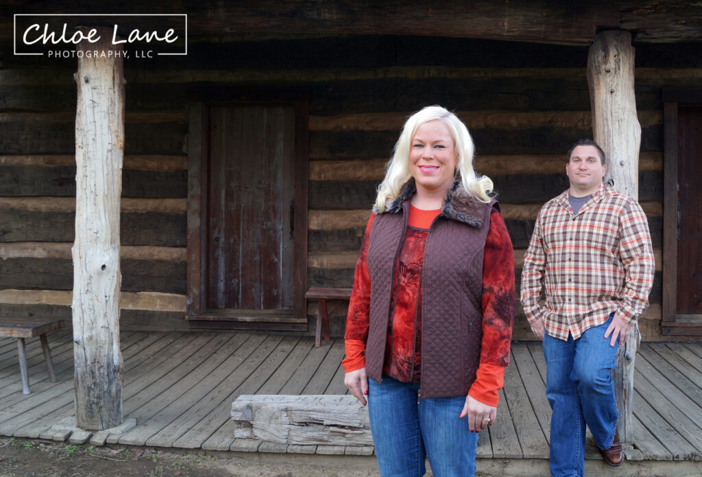 Log cabin engagement photos at Historic Hanna's Town in Greensburg, PA