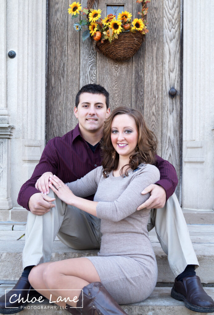 Engagement Photos at the front door of Hartwood Acres mansion in Pittsburgh, PA