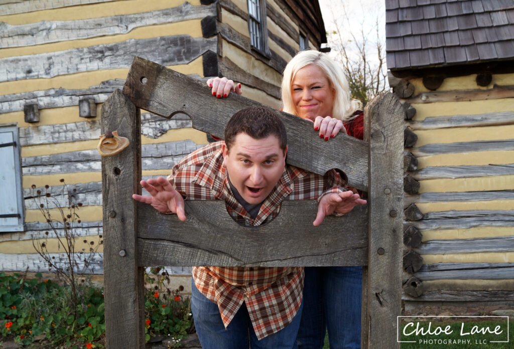 Funny engagement photos at Historic Hanna's Town in Greensburg, PA