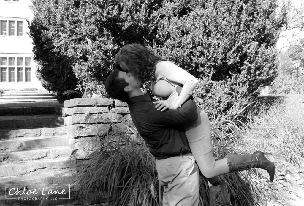 Michael and Tiffany kissing engagement photo at Hartwood Acres mansion in Pittsburgh, PA