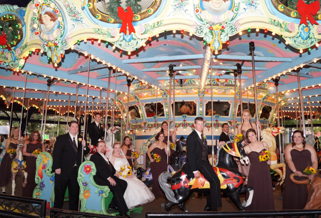 Wedding party on the carousel at Kennywood Park in Pittsburgh, PA