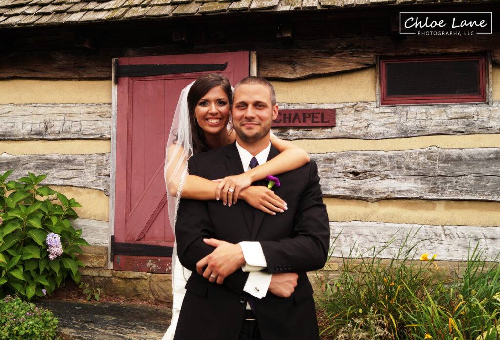 Bride-and-Groom-outside-chapel-at-Foggy-Mountain-Lodge-Stahlstown