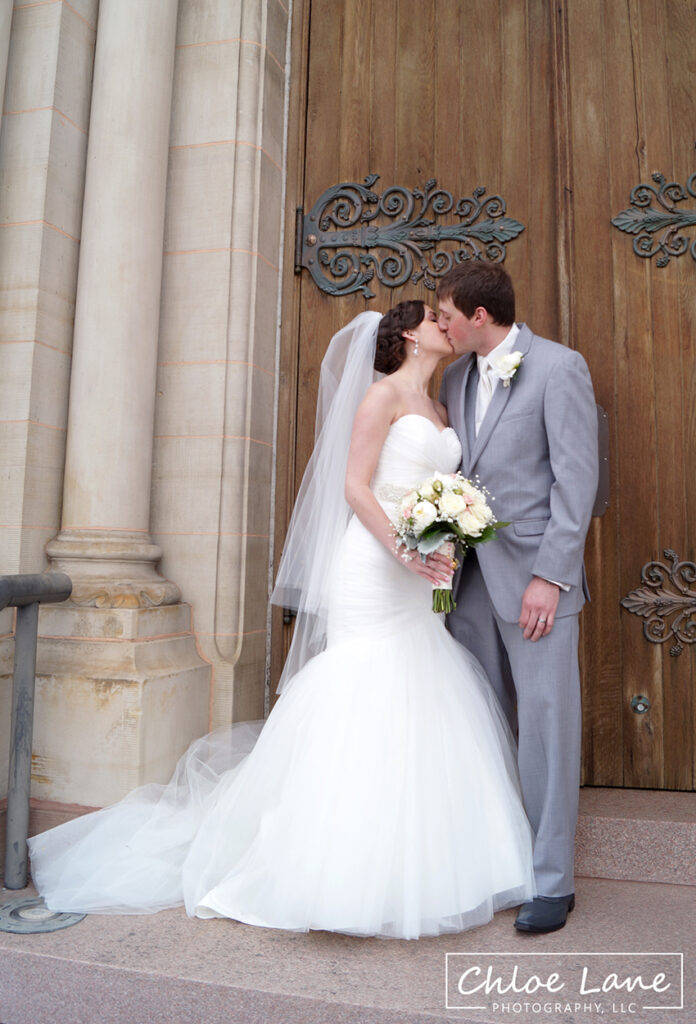 St-Vincent-Basilica-Wedding-Bride-Groom-wood-church-doors-Latrobe-PA
