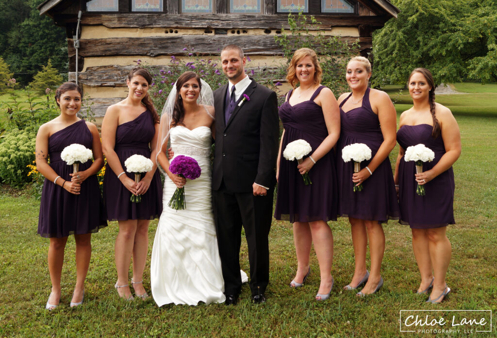 bridal-party-outside-chapel-at-Foggy-Mountain-Lodge-Stahlstown-PA