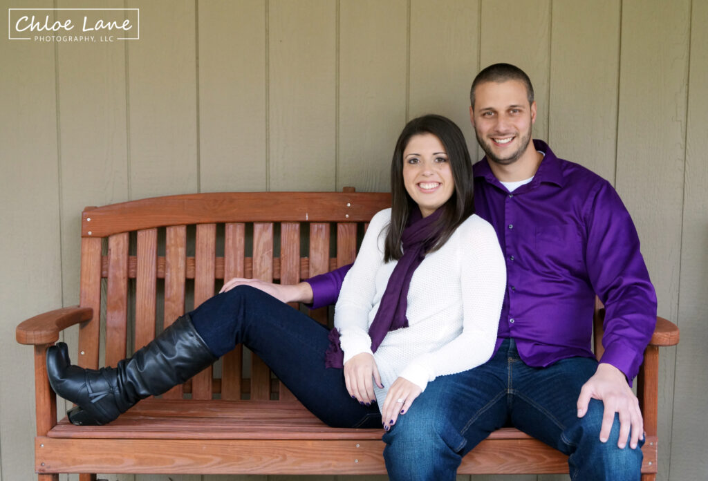 sitting-on-bench-engagement-photos-at-Foggy-Mountain-Lodge by Chloe Lane Photography Latrobe and Greensburg PA