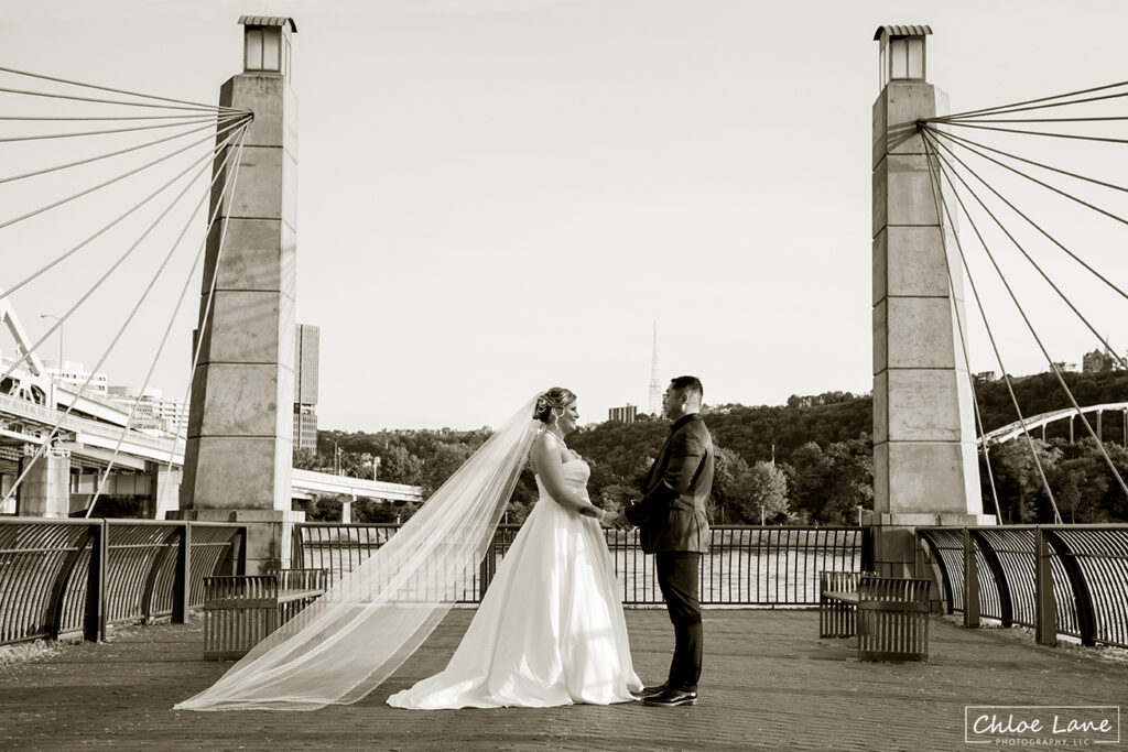 Stunning wedding photo from the North Shore River Walk in Pittsburgh PA