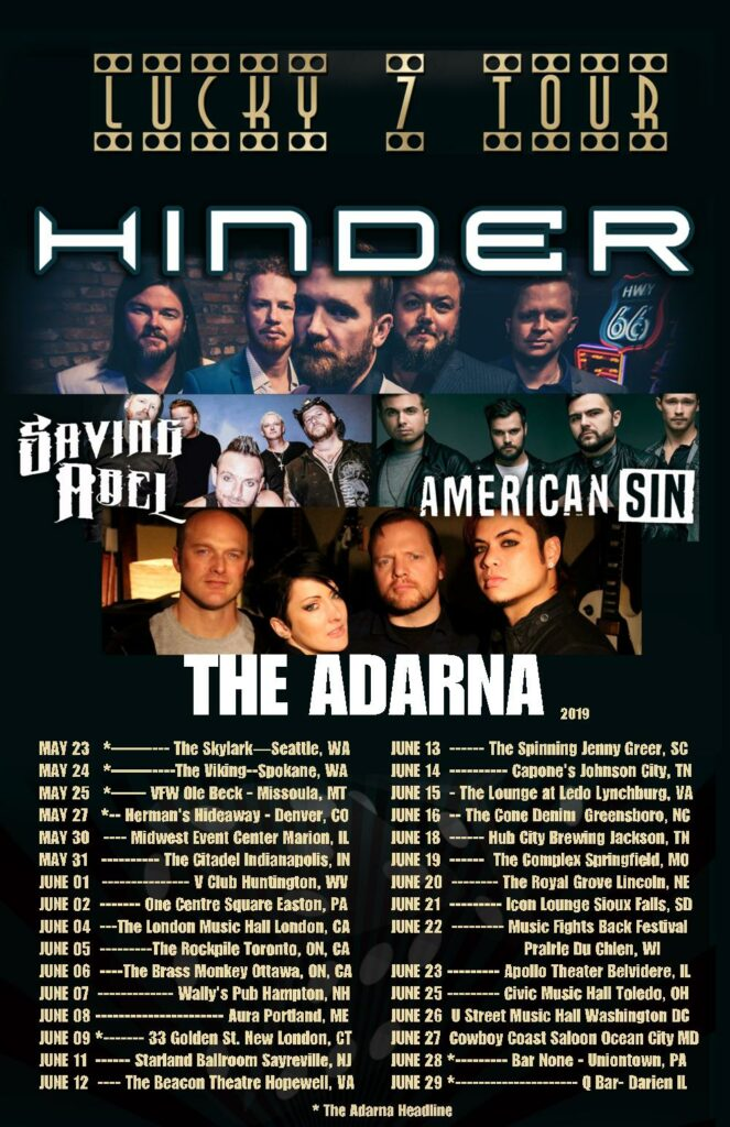 The Adarna Lucky 7 Tour with Hinder, Saving Abel, and American Sin (2019)