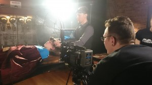 Our brave actor, Blue.  Avast filming on Set