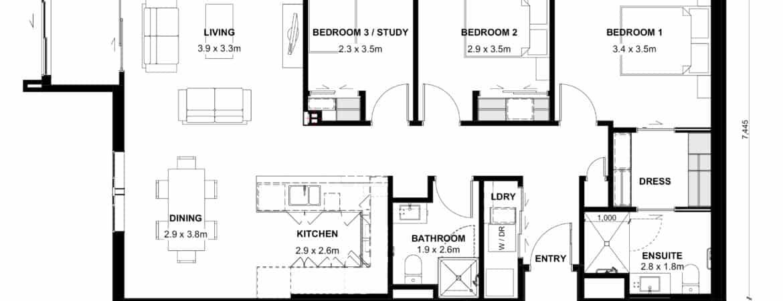 The Grove Orewa - Floor plan A - Three Bedroom